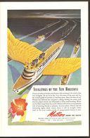 1944 Matson Lines To Hawaii & South Pacific - Samoa Fiji New Zealand Australia - Flying Cruise Ship Ad War Time WWII WW2 - Advertising