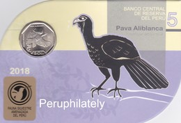 PERU 2018 , FAUNA BIRD PAVA ALIBLANCA , COIN ON CARD , MINT - Peru