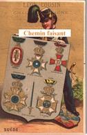 Chromo LEON COUSIN Porcelaines Cristaux Châlon-sur-Saône - SUEDE -  Scans Recto-verso - Chromos
