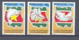 Mwb0678 STAATKUNDIGE ONAFHANKELIJKEHEID VIS VOGEL DUIF PASSIEBLOEM FISH PIGEON BIRD FLOWER SURINAME 1990 PF/MNH - Suriname