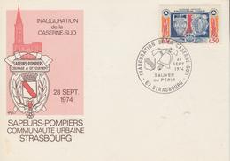 Carte  FRANCE   SAPEURS - POMPIERS    Inauguration  De  La  Caserne  Sud   STRASBOURG  1974 - Sapeurs-Pompiers