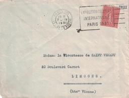 PARIS - 49 R.DE LA BOETIE - EXPOSITION COLONIALE / INTERNATIONALE / PARIS 1931 - SEMEUSE 50c. - Marcophilie (Lettres)