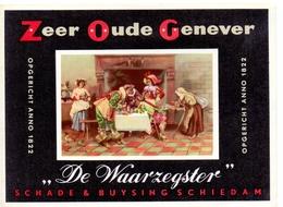 Etiket Etiquette - Genever Genièvre - Zeer Oude Genever De Waarzegster - Schade & Buysing Schiedam - Labels