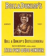 Etiket Etiquette - Genever Genièvre - Zeer Fijne Oude Genever - Boll & Dunlop's Schiedam - Labels