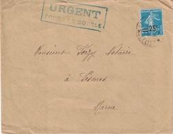 SEMEUSE AVEC SURCHARGE 25c - GRIFFE BLEU DANS UN RECTANGLE - URGENT / COURRIER DE BOURSE - MOSELLE. - Postmark Collection (Covers)