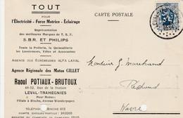 Leval-Trahegnies,(filiale à Binche) Carte Publicité ,Raoul Potiaux-Brutoux ,Moto GILLET ,électricité,Tsf: SBR Et Philips - Binche