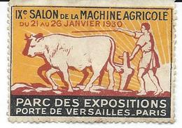 Timbre 9 Eme Salon De La Machine Agricole 1930 à Paris -  Attelage Boeufs - Erinnophilie