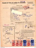 Fiscaux, Fiscal, Demande De Permis De Conduire Les Automobiles 1954 - Fiscaux