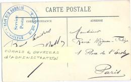 GUERRE 14-18 STATION MAGASIN DES AUBRAIS 5e Son C.O.A. = COMMIS & OUVRIERS D'ADMINISTRATION - Marcophilie (Lettres)