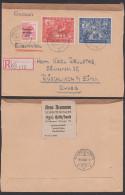 SBZ Messe Leipzig  230/31 Auslands-R-Brief Portogenau Aus Halle Nach Rüschlikon B. Zürich, Aushilfs-R-Zettel - Sovjetzone