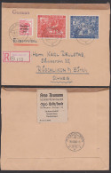 SBZ Messe Leipzig  230/31 Auslands-R-Brief Portogenau Aus Halle Nach Rüschlikon B. Zürich, Aushilfs-R-Zettel - Zona Soviética
