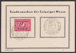 SBZ 233 J. W. Goethe Sonderstempel Leipzig 28.8.49 Auf Anlasskarte Mit SoMke 3. Deutscher Volkskongress - Zona Sovietica