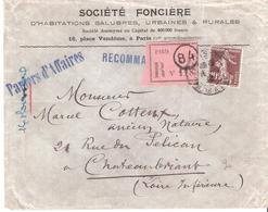 20c.semeuse Camée Brun Sur PAPIERS D'AFFAIRES Recommandé Oblitéré PARIS 84 Pour CHATEAUBRIAND - 1921-1960: Période Moderne