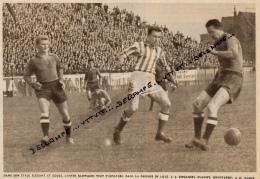 FOOTBALL : PHOTO, LILLE-MONACO (1-1) , CHAMPIONNAT DE FRANCE, GLOWACKI, BIEGANSKI, CLAUWS, PAZUR.., COUPURE REVUE (1957) - Calcio