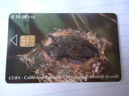 CUBA USED CARDS MARINE LIFE COLIBRIES - Cuba