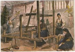 Cyprus Weaving Loom With All Its Accessoires (Wood Block Engraving, London 1878) - Lanarca, Cyprus 1985 - Cyprus