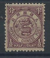 1897 CHINA ICP IMPERIAL CHINESE POST 1/2 CENT OG H MINT - Unused Stamps