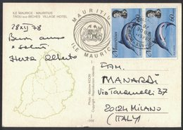 QS118    MAURITIUS Postcard Multi Stamps BLUE MERLIN FISH To Italy - Mauritius (1968-...)