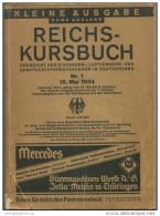 Deutschland - Reichs-Kursbuch 1934 - Kleine Ausgabe Ohne Ausland - Übersicht Der Eisenbahn- Luftverkehr- Und Dampfschiff - Europa