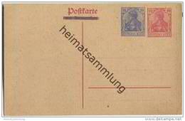 """Postkarte - Zudruck Germania 20 Rpfg. Blau """"""""mit Antwortkarte"""""""" überbalkt In Blau Auf Germaniakarte 10 Rpfg. Frageteil - Deutschland"""