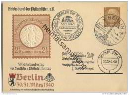 Postkarte - Privatganzsache 5. Reichsbundestag - 46. Deutscher Philatelistentag Berlin 1940 - Sonderstempel - Briefe U. Dokumente