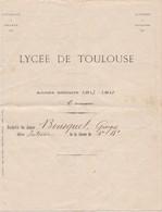 LYCEE DE  TOULOUSE ,,,,UNIVERSITE DE  FRANCE ,,,, ANNEE  1913 - 1914 ,,,,, - Diplômes & Bulletins Scolaires
