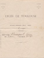 LYCEE DE  TOULOUSE ,,,,UNIVERSITE DE  FRANCE ,,,, ANNEE  1913 - 1914 ,,,,, - Diplome Und Schulzeugnisse