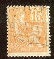 TIMBRE Type MOUCHON N°117 15c Orange Oblitéré DRAPEAU - 1900-02 Mouchon
