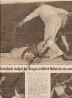 DOCUMENT, BOXE,  ALPHONSE HALIMI - CHIC BROGAN, CHAMPION D'ECOSSE, COUPURE REVUE (1957) - Boxing