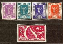 TIMBRE EXPO INTERNATIONALE PARIS 1937 YT N°322 à 326 NEUF Avec GOMME** / * - Nuovi