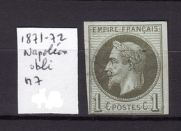 NAPOLEON 1871-72 N 7 Obli AC7 - Napoleone III