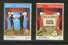 India 2018 Goan Tiatr Musical Theatre Dramas Culture Mask 2v MNH - Cinema