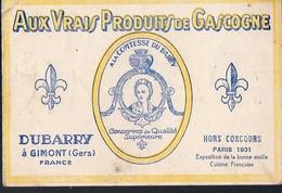 Gimont (32 Gers) Carte DUBARRY (conserves De Qualité Supérieure ) Tarif 1934  (PPP13584) - Advertising