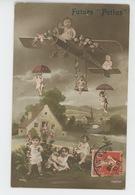 """GUERRE 1914-18 - Jolie Carte Fantaisie Bébés Avec Avion Et Parapluies """"Futurs Poilus """" - Guerre 1914-18"""