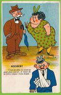 HUMOUR ACCIDENT C'est Terrible Le Muet Ne Peut Plus Parler Il Vient De Se Faire Couper 3 Doigts Carte Circulé 1944 - Humour