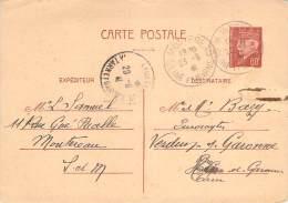 Entier Postal - Petain 80c Oblit Cad 1941 Montereau Pour Verdun-sur-Garonne - 1941-42 Pétain