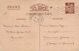 Entier Postal - Iris Oblit EMA 1941 Paris R.P., Procureur République Adjoint Parquet De La Seine - 1939-44 Iris