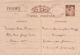 Entier Postal - Iris Oblit EMA Paris 53 R. Poussin 1941 - 1939-44 Iris