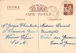 Entier Postal - Iris Oblit Cad Montereau 1940 - 1939-44 Iris