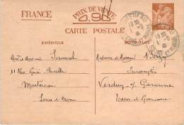 Entier Postal - Iris Oblit Cad Montereau 1941 - 1939-44 Iris