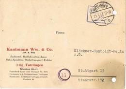 29114. Tarjeta TUTTLINGEN (Alemania Zona Anglo Americana) 1947. Comercial - Zona Anglo-Américan