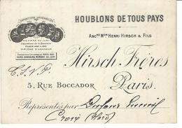Bière Bier Publicité Publicitaire Réclame Carton Représentant Paris 13,5 X 9,5 Houblon - Publicités