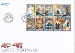 Faroe Islands FDC 20-9-2004 Poems By Janus Djurhuus Complete Set Of 10 With Cachet - Färöer Inseln