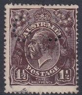 Australia SG O64 1918 King George V,three Half Penny Black Brown,Large Multiple Watermark,perforated Small OS, Used - 1913-36 George V: Heads