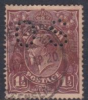 Australia SG O68 1918 King George V,three Half Penny Black Brown,perforated Small OS, Used - 1913-36 George V: Heads