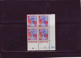 N° 1234 - 0,25F Marianne à La NEF -  J De I+J - Tirage Du 11.1.1960 Au 26.4.60 - 21.01.1960 - - Dated Corners