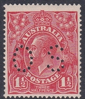 Australia SG O80 1924 King George V,three Half Penny Scarlet Perf 13.5.12.5,perforated Small OS, Mint Never Hinged - 1913-36 George V: Heads