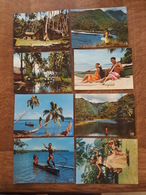 Si Tahiti M'était Conté Ensemble De 8 Cartes En Bel état - Vahiné Jouant De La Guitare, Pirogue, Fleur à L'oreille - DA - Tahiti