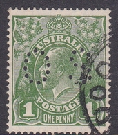 Australia SG O89 1924 King George V,1d Green,perforated Small OS, Used - 1913-36 George V: Heads