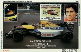 Ref. 48982 * NEW *  - BOLIVIA . 1995. ANNIVERSARY OF AYRTON SENNA'S DEATH. ANIVERSARIO DE LA MUERTE DE AYRTON SENNA - Bolivia
